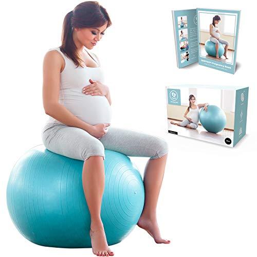 BabyGO Gymnastikball Schwangerschaft Sitzball Büro Schwangere Yoga Pezziball 65 cm 75 cm + 100 Seiten Schwangerschaftsbuch für Geburt & Fitness Anti-Burst 1000KG Pezzi Ball