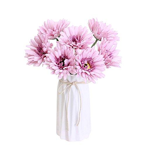 Jia HU 7 pcs seule Tête Fleurs Artificielles Barberton (Daisy Table plantes d'intérieur Home Office décoratifs violet