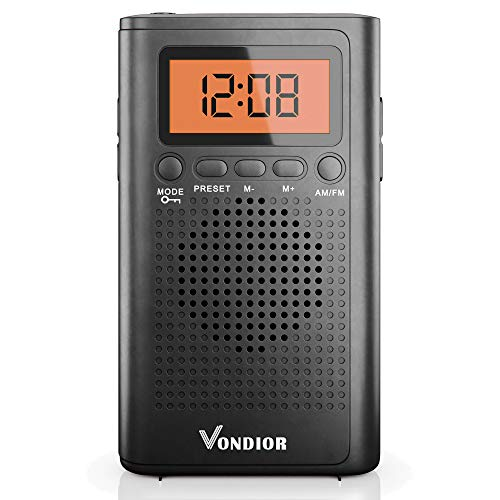 Pocket Radios with Best Reception AM FM. Pocket Radio Player Operated by 2 AAA Battery, Stereo Headphone Pocket (Black, Orange), by Vondior