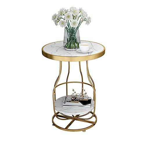 Marble Side Table Living Room Telephone Table Golden Wrought Iron Sofa Corner Table Balcony Coffee Table Small Round Table,50x63CM (Color : White)