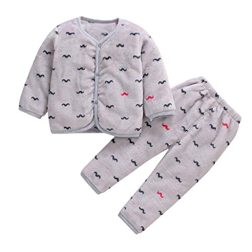 Xmiral Baby Mädchen Jungen Kurze Plüsch Warme Nachtwäsche Pyjamas Langarm Kleidung Set Herbst Top + Hosen Zweiteiler(H,1-2 Jahre)