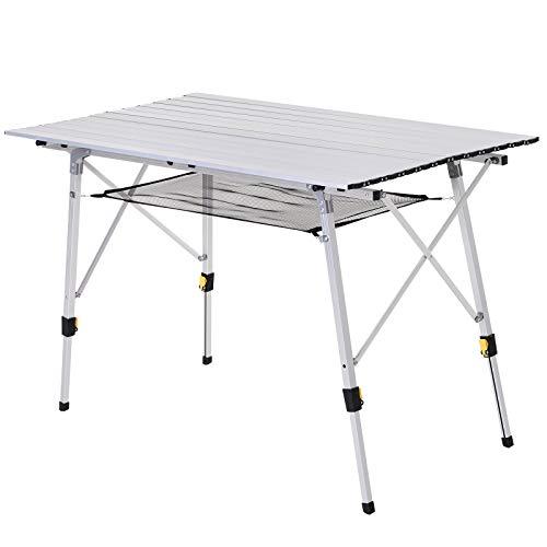 Outsunny Mesa de Picnic Plegable Altura Regulable con Estante de Malla Espacio para 4 Personas Estructura Estable de Aluminio con Bolsa de Transporte 120x70x58-73 cm Plateado