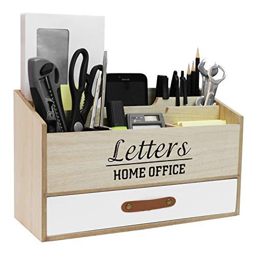 Organizer da scrivania con 5 scomparti e 1 cassetto, porta lettere in legno, raccoglitore stand-up, organizer