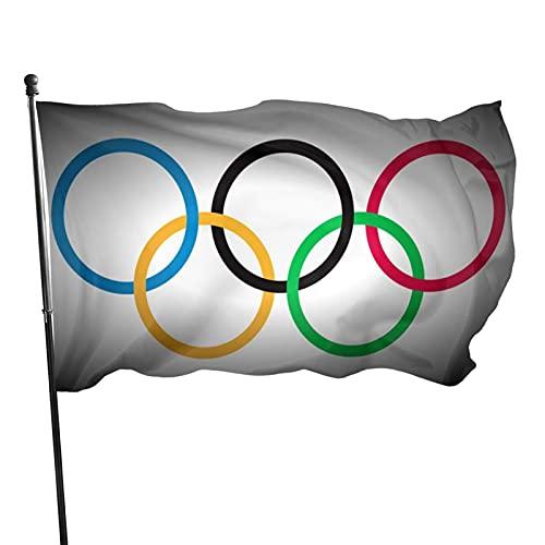 Olympisches Spiel 2, 91 x 152 cm, dekorative Flagge für den Innenhof und Garten für Olympische Spiele 2021