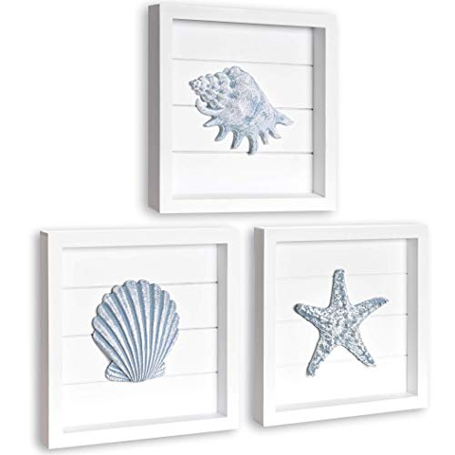 TideAndTales Beach Wall Decor with Blue Seashells and Starfish, Elegant Framed 3D Art, Beach Decor for Bathroom or Coastal Bedroom, Ocean Inspired Beach Decorations for Home, Shells Wall Art