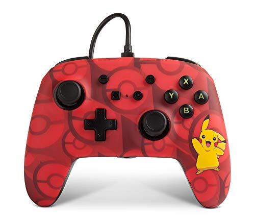 Power A - Mando con cable mejorado Pikachu para Nintendo Switch, color rojo (Nintendo Switch)