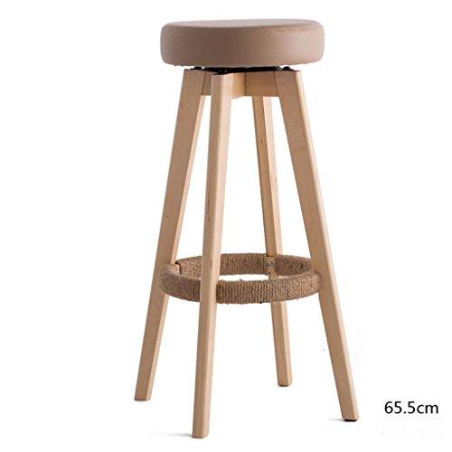 Rollsnownow Coussin de couleur en bois Cadre en bois en bois haute 65cm Chaise de bar Tabouret haut Chaise de tournage moderne Simplicité