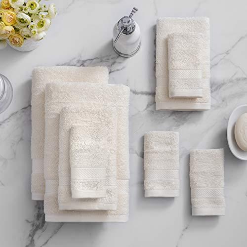 Welhome 100% Cotton Towel (Cream)- Set of 8 - Quick Dry -...