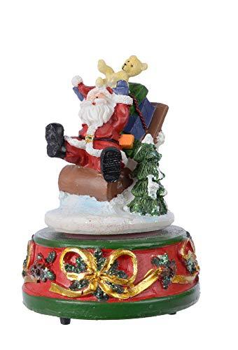 Festive Weihnachtsmann/Weihnachtsmann Spieluhr – Traditionelle Aufzieh-Musik mit drehbarem Weihnachtsmann – We Wish You A Merry Christmas
