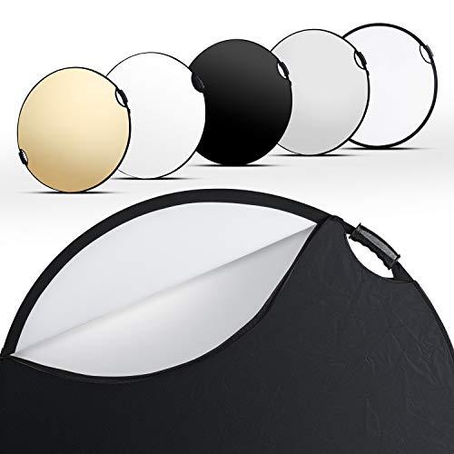 Walimex pro 5in1 Faltreflektor Wavy Comfort Ø 80cm, Set aus 4 Farben und Diffusor, Pop Up Reflektor rund, kompakt und leicht, mit Zwei bequemen Griffen,...