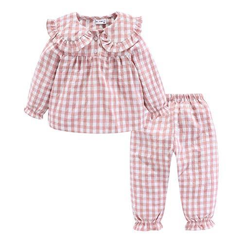 Mud Kingdom Niñas Conjuntos de Pijama Cuello Peter Pan Lindo Cuadros Rosa 5 Años