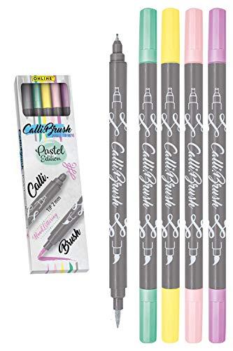 Online Schreibgeräte 19079 Set Pinselspitze Brush, 5 Double-Tip Pens Pastel
