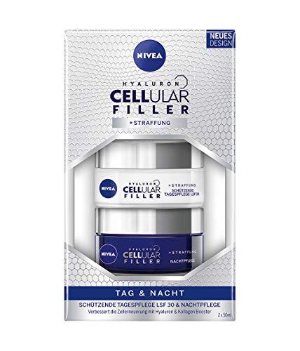 NIVEA Hyaluron Cellular Filler + Straffung Tag und Nacht Pflege-Set, 2er-Pack (2 x 50 ml), schützende Tagespflege mit Lichtschutzfaktor 30 & Nachtpflege