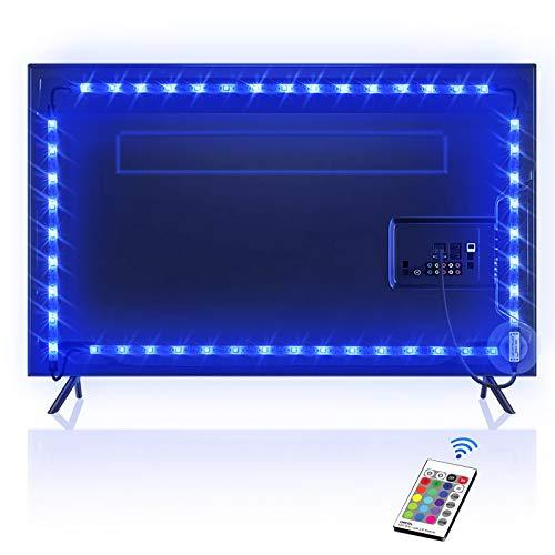 TV Hintergrundbeleuchtung OMERIL 2.2M USB Led Band Strip Wasserdicht RGB LED Streifen Fernseher Beleuchtung mit 24-Key Fernbedienung, für 40-60 Zoll HDTV, TV-Bildschirm,PC usw. (A)