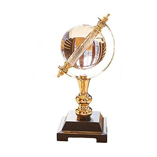 Escultura Estatua Globo transparente para la decoración del hogar, vidrio de cristal redondo y globo de metal adornos creativos de oficina para el hogar Regalos de decoración de oficina Deco de escrit