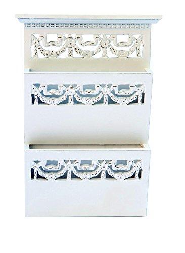 My Flair Wandablage Zoe, 2 Einsteckfächer, Holz, weiß-antik, 25 x 6 x 36 cm