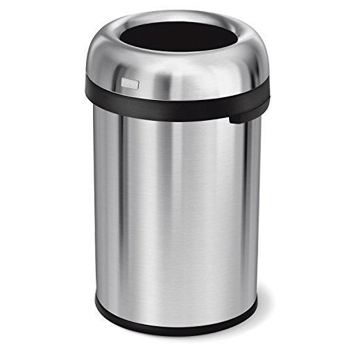 simplehuman 115 Liter / 30 Gallon Bullet Open Top Trash Can Commercial Grade, Heavy Gauge Brushed Stainless Steel