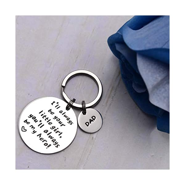 LParkin Father's Day Keychain – I'll Always Be Your Little Girl.You Will Always Be My Hero Keychain, Stainless Steel