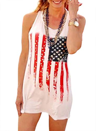 CORAFRITZ Vestido de verano con estampado de bandera de Estados Unidos para mujer, estilo informal, con cuello redondo, sin mangas, para mujer