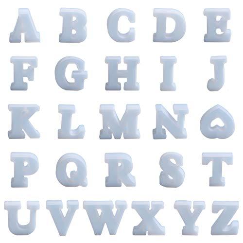 Youbei 26 Englische Buchstaben Kristall Epoxidform Briefdekoration DIY Silikonform