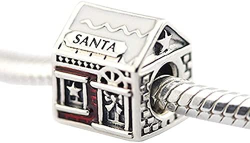 VVHN Novelty Bracelets Titanium Steel Bangle Winter Santa Claus Home Beaded Compandora Charm Bracelets Red Enamel for Jewelry Making.