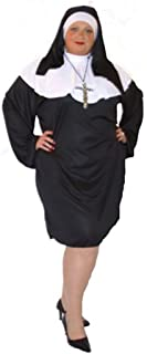 Short & Sexy Black Nun with Silver Cross Fancy Dress Costume - All Sizes