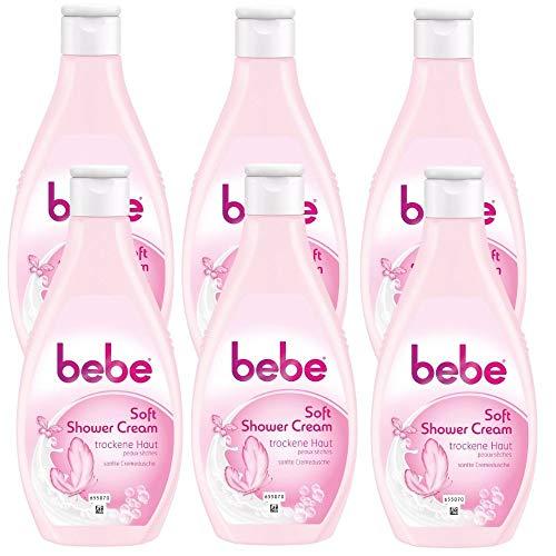 bebe Soft Cremedusche für normale bis empfindliche Haut - Cremiger Schaum und sanfter Duft, 6er pack (6 x 250 ml)