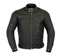 Texpeed - Herren - Motorradjacke aus mattem Leder - Zweifarbig - Schwarz - L - 106.68cm