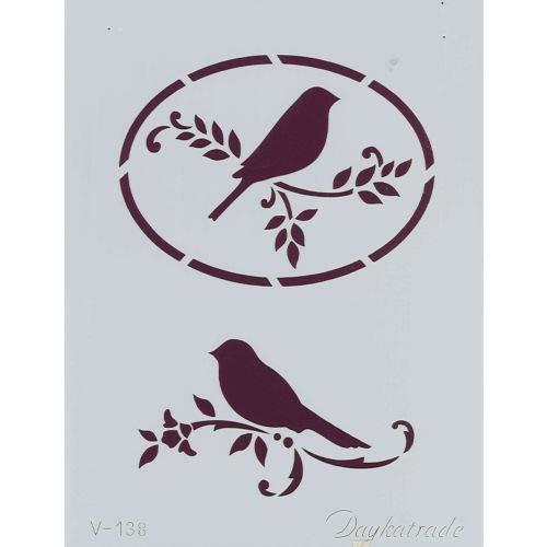 Dayka Trade sjabloon met twee vogels, meerkleurig, eenheidsmaat