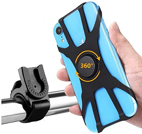 Soporte Movil Bici, Soporte Movil Moto Bicicleta 360° Rotación, Desmontable Anti Vibración Porta Telefono Motocicleta Montaña para iPhone, Samsung Xiaomi Huawei BQ Motorola LG GPS y Otro 4-6.5' Móvil