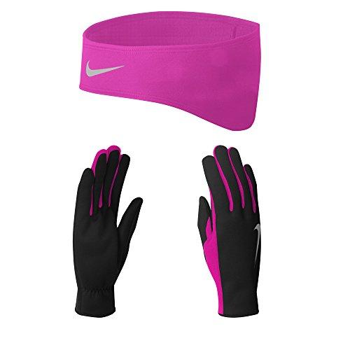 Nike Dri- Fit Set hoofdband en handschoenen, zwart/levendig roze, één maat