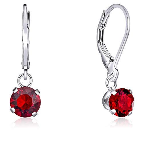 DTPsilver Semental Pendientes/Aretes Cierre de palanca - Plata de Ley 925 con Cristal Swarovski Elements Redondo - Diámetro: 6 mm - Color: Siam Rojo