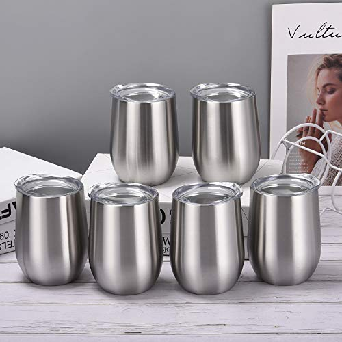 6 Pack 12Oz Stemless Wine Tumbler Wine Glasses Set Stainless Steel Wine Tumbler Cups with Lid and Straw Set of 6 for Picnic Camping Party or Family Daily Use