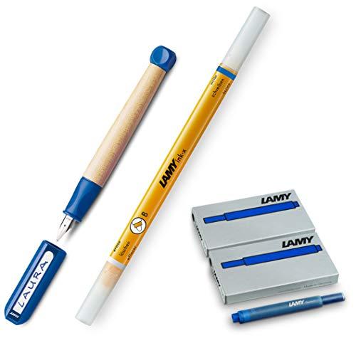 LAMY abc Schulanfänger Füllfederhalter BLAU für Linkshänder [Starter-/Geschenkset] inkl. 2 Päckchen Tintenpatronen = 10Stk. & Tintenkiller F
