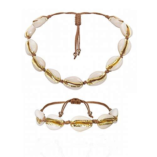 WAVENI Natürliche Muscheln Halsketten Armband for Frauen Mädchen Einstellbare Hawaii Beach Kauri Muschel Perlen Choker Muschel Schmuck Set (Color : Gold)