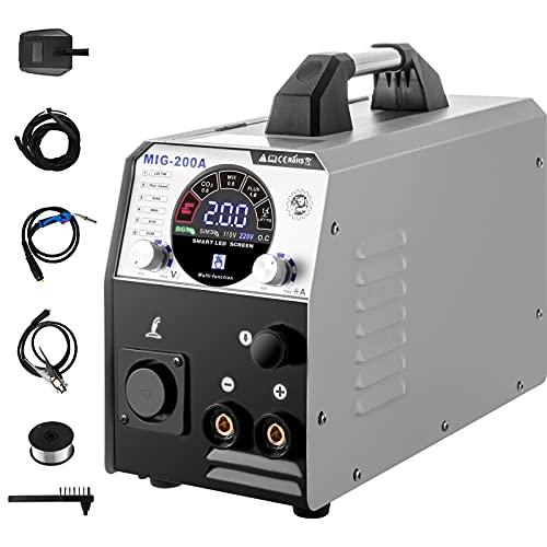 VEVOR MIG Soldador Inversor 200A 220V Máquina de Soldadura Inverter IGBT 6 en 1 Núcleo de Flujo/Alambre Sólido Soldador Inverter TIG MIG con Fuente de Alimentación CC para Soldar Trabajos Eléc