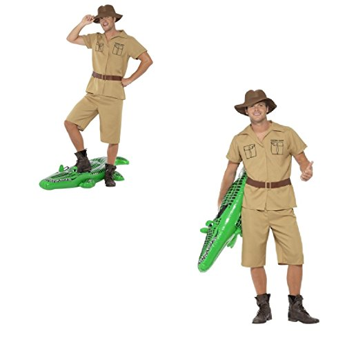Disfraz para hombre adulto Safari Man Frank Steve Irwin Cocodrilo Dundee frica Australia Outback Fun Run Carnaval Festival Stag Do (pecho grande 42'-44', entrepierna de la pierna 33')