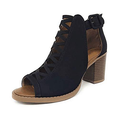 Sandalias de Moda de Verano con Boca de Pez para Mujer Sexy, Zapatos con Hebilla de Cinturón Huecos para Mujer, Zapatos de Baile para Bodas de Salón, Regalos para Ella,Negro,43