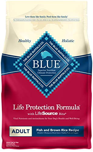 Blue Buffalo Life Protection Formula Adult Dog Food – Natural Dry Dog Food for Adult Dogs – Fish and Brown Rice – 15 lb. Bag