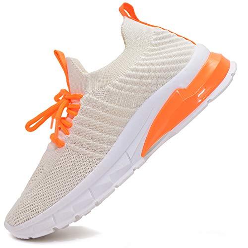 Vain Secrets Damen Sneaker Laufschuhe Sportschuhe Freizeit Schuhe Mesh Elastisch (Beige M2, Numeric_37)