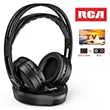Wireless TV Headphones, Over Ear Headset for TV Watching/Seniors Hard of Hearing/PC/VCD, RCA Hi-Fi Stereo Earbuds with 2.4GHz RF Transmitter Charging Dock,100ft Range, Rechargeable, Black