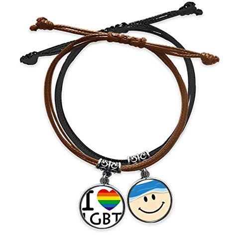 Rainbow Transgender Bisexuales LGBT Pulsera de cuerda para la mano de cuero sonriente