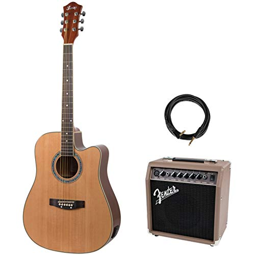 Fazley FE118CN Electro-Acoustic Steel-String Guitar + Amplifier and Cable