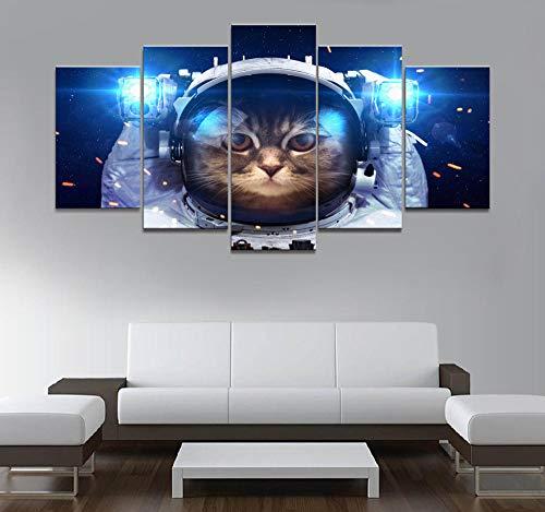 hgjfg Cuadro sobre Impresión Lienzo 5 Piezas Listo para Colgar un Marco Gato Astronauta en el Espacio Exterior HD Arte De Pared Modulares Sala De Estar Dormitorios Decoración para El Hogar Póster