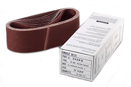 10-Pack 1 x 42 Sungold Abrasives 03990 Assorted Fine Grit Premium Industrial Aluminum Oxide Cloth Backed Film Sanding Belts