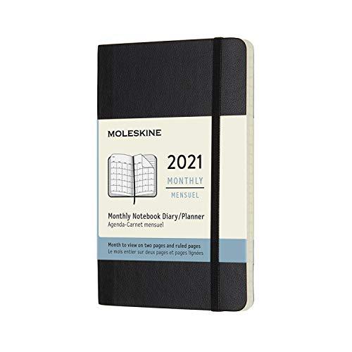 Moleskine - Agenda Mensile 2021, Planner Mensile 12 Mesi, Monthly Notebook con Copertina Morbida, Formato POCKET 9 x 14 cm, Colore Nero, 128 Pagine