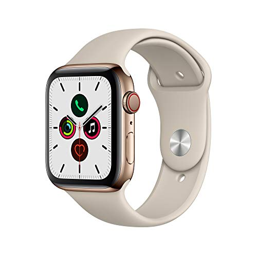 Amazon.com: Apple Watch Series 5 (GPS + Cellular, 44mm) - Gold Stainless Steel Case with Stone Sport Band