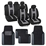 BDK Rome Sport Gray Car Seat Covers Full Set Combo with Floor Mats – Front and Rear Seat Cover & Floor Mat Set, Stylish Protection with Two-Tone Color Accents, Universal Fit for Car Truck Van SUV