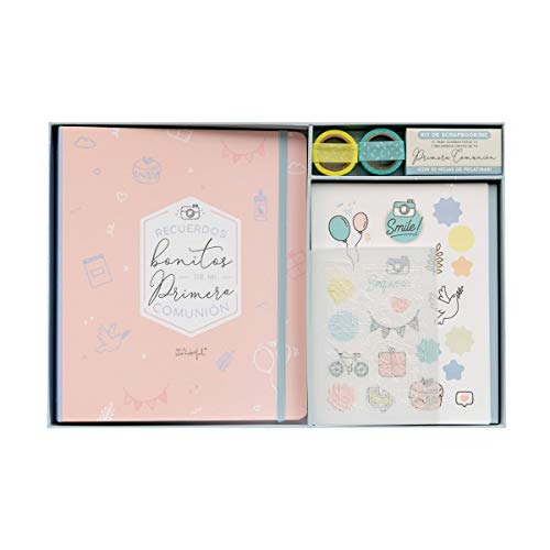 Mr. Wonderful WOA10104ES Kit Scrapbooking para Álbum de Comunión, Color Rosa