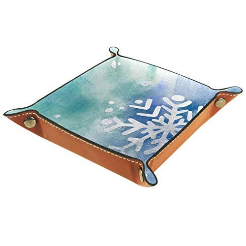 TIKISMILE Bandeja de almacenamiento de acuarela blanca copo de nieve de cuero lápiz labial organizador de cosméticos bandeja para el hogar oficina de escritorio clave Sundries placa cuadrada